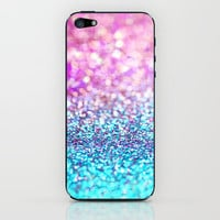 Pastel sparkle- photograph of pink and turquoise glitter iPhone & iPod Skin by Sylvia Cook Photography