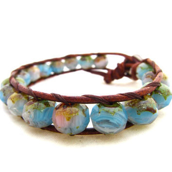 Cottage Chic Beach Wrap Bracelet HandMade on Maui, Hawaii. Opalescent Picasso Czech Glass With Flower Button. Pink Aqua Brown and Green