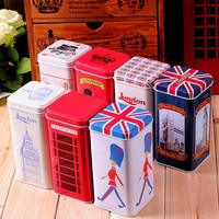 Set of 7: Retro Vintage London Style Tea Tin Box, Christmas Gift, Home Decor, London, Vintage London, Vintage Britain