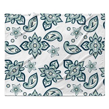 "Gukuuki ""Batik Paisley"" Teal White Fleece Throw Blanket"