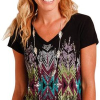Panhandle Slim Women's Black Cap Sleeve Aztec Graphic Tee