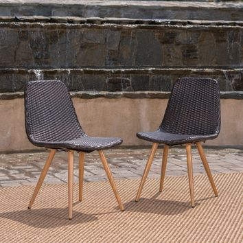 Gila Outdoor Wicker Dining Chair (Set of 2) by Christopher Knight Home
