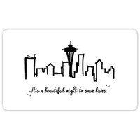 "'Grey's Anatomy ""It's a beautiful night to save lives""' Sticker by Julia Koscelnik"