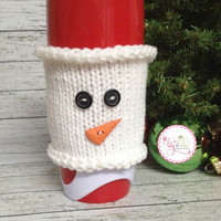 Knitted Snowman Face Coffee Cozy Sleeve