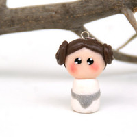 Princess Leia Polymer Clay Charm Necklace ,Geekery Star Wars Chibi kawaii
