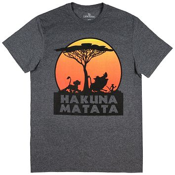Disney The Lion King Hakuna Matata Tree Silhouette Orange Sunset Men's T-shirt