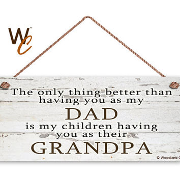 "DAD Sign, GRANDPA Sign, The Only Thing Better, Gift For Grandparent, Distressed Style, You Are a Blessing, 6"" x 14"" Sign, Made To Order"