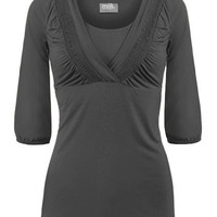 Billow-sleeve Nursing Top {Dark Heather Grey}