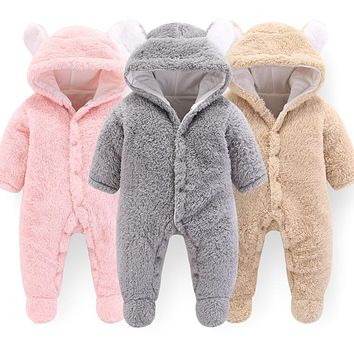 Baby winter clothes Jumpsuit Newborn Baby Boys Girls Cartoon Polyester Clothes Infant Baby Winter Warm Outwear Hoodie Pajamas