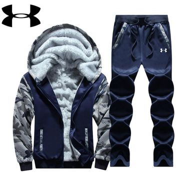 One-nice™ Under Armour PRINT HOODIE THICK KEEP WARM TOP AND PANTS TWO PIECE SUIT Blue