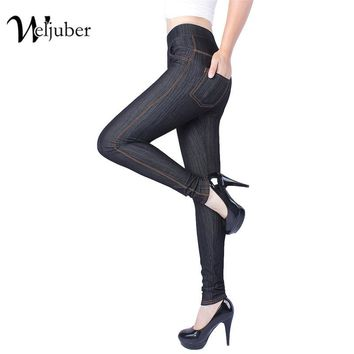 Weljuber Womens Jeggings Autumn Sexy Jeans Leggings 2017 Skinny Pants High Elastic Stretch Pants Plus Size Leggings