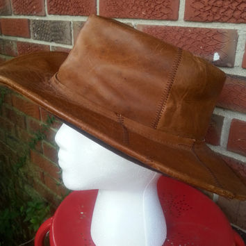 Vintage Leather Rancher Cowboy Hat