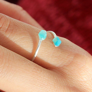 Blue Raw Stone Ring, Raw Agate Ring, Gift For Women, Simple Ring, Minimalist,  Stacking Rings,Sterling Silver Ring, Bridesmaid Gift,