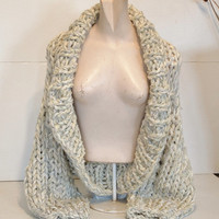 Shawl collar shrug super chunky knit long sleeved sweater crop cardigan cardi large extra large plus women in cream and grey tweed