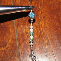 Custom Mermaid Dangle Belly Ring with Swarovski Crystals