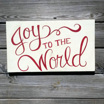 Joy to the World Christmas Reclaimed Wood Hand Painted Sign Red and White Cream