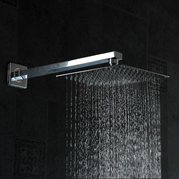 Shower Head W/ Shower Arm 10Inch 25Cm * 25Cm Square Stainless Steel Ultra-Thin Showerhead Bathroom Square Shower