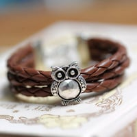 owl braceletretro silver SUPER cute owl bead by fantasticgift
