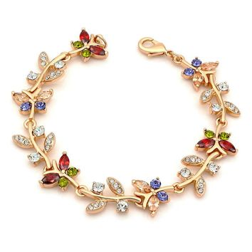 Charming Multi Color Rhinestone Link Bracelet Gold-color Butterfly Leaf Jewelry for Teen Girls Women,6.5""