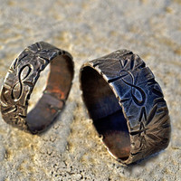 Engraved Sterling Silver Infinity Rings, His and Hers Custom Matching Rings, Symbol of Love, Arrows, Scratches,Darkened Finish