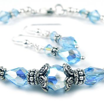 Solid Sterling Silver Bangle March Birthstone Bracelets & Earrings in Simulated  Aquamarine