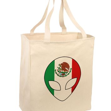 Mexican Flag Extraterrestrial Large Grocery Tote Bag by TooLoud