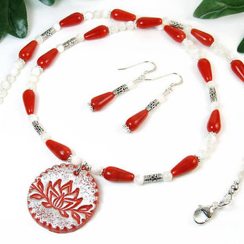 Inspirational Lotus Necklace Earrings Set, Red Flower Necklace, Spiritual Yoga Jewelry, Hindu Buddhist symbol, Positive Support Gift for Her