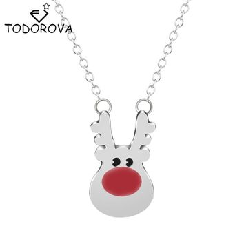 Todorova 10pcs Rudolph Reindeer Animal Pendant Chain Necklace Vintage Accessories for Women Statement Jewelry Christmas Gift