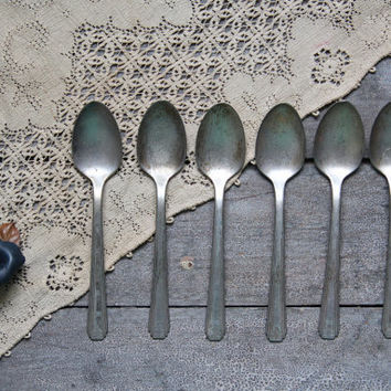 antique set of spoons, antique flatware, rustic silverware; utensils