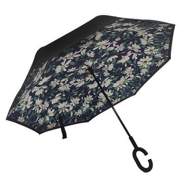 Ceiourich Double Layer Inverted Umbrellas Reverse Windproof UV Protection Big Straight Umbrella for Car Rainny Umbrella-001