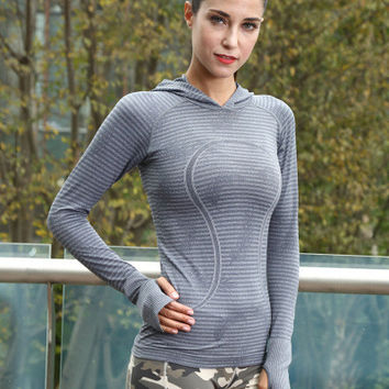 Women Long Sleeve Sport Suit Fitness Professional Sportswear Stretch Exercise Yoga  Top T-Shirt _ 6814