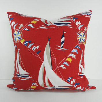 Designer Nautical Pillow Cover, Decorative Pillow Cushion, Red, White, Blue, Waverly Fabrics, Sailboat, 20 x 20