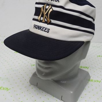 Vintage NY Yankees hat cap snap back blue white classic stripes made in USA Larg