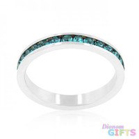 Stylish Stackables With Turquoise Crystal Ring (size: 09)