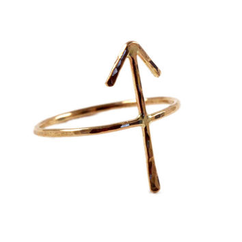"ON SALE Hammered 14k Yellow, Rose Gold-fill or Sterling SIlver ""Victory"" Arrow Rune Forefinger Knuckle or Pinky Ring"
