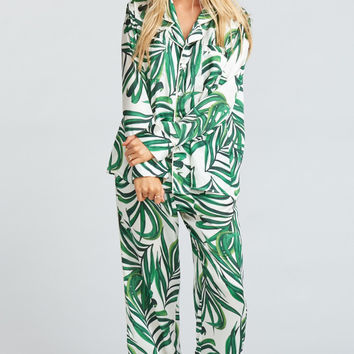 Paige PJ Set With Eye Mask ~ Peruvian Palm