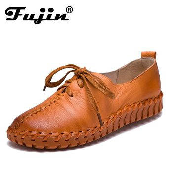 Genuine Leather Loafers Casual Platform Shoes Woman Slip On Flats 2017 Bowtie Moccasin Comfortanble Creepers Women Shoes