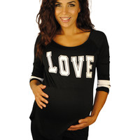 Sporting Love Black Maternity Top