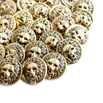 Vintage Brass Lion Button Lot - 35 Gold Tone Supply Figural Shank Buttons / Wild Cat Head Findings
