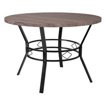 "Tremont 45"" Round Dining Table in Distressed Gray Wood Finish"