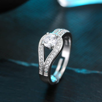 New 925 Sterling Silver Full Zirconia Crystal Rings For Women Adjustable Size Finger Ring Fashion sterling-silver-jewelry