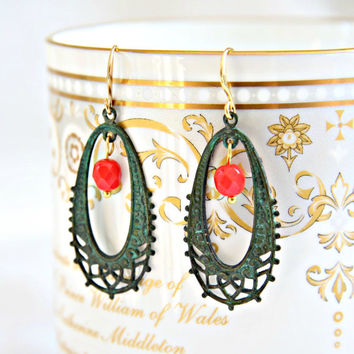 Filigree patina hoop red earrings. Boho earrings