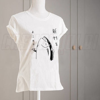 Harajuku Fish Hold Up Kanji Kawaii Japanese Tee Black White Unisex TShirt