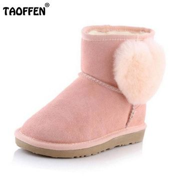 TAOFFEN Size 34-43 Women  Real Leather Ankle Snow Boots For Women Cute Pompon Warm Fur Inside Thick Platfrom Flat Winter Boots