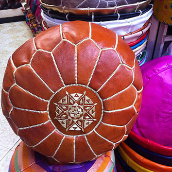 Holiday Gift Leather moroccan pouf - Light Brown, Moroccan Leather pouf  Gift Idea - christmas gift
