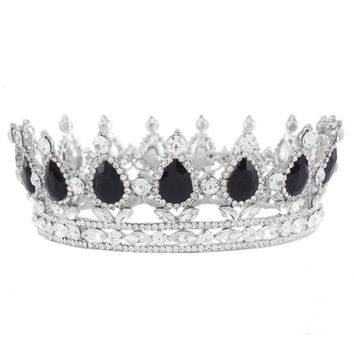 Fashion Fancy Wedding Bridal Crown Silver Color Metal Tiaras Black Water Drop Rhinestone Princess and Queen Crowns HG00041-New