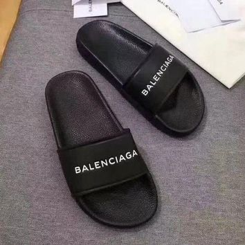Black Balenciaga Women Leather Fashion Slipper Sandals Shoes