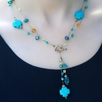 Y Shape Short Necklace with Cross Turquoise Beads and Matchi