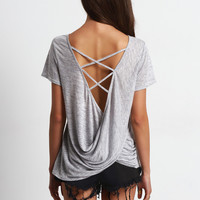 Grey Criss Cross Drapped Back Casual T-shirt | MakeMeChic.COM