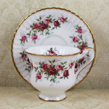 Vintage County Fair Pink Roses Paragon Bone China Tea Cup and Saucer